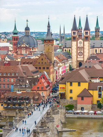 river main: Aerial view of the historic city of Wurzburg, region of Franconia, Northern Bavaria, Germany