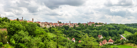 bayern old town: Beautiful panoramic view of the historic town of Rothenburg ob der Tauber skyline, Franconia, Bavaria, Germany Stock Photo
