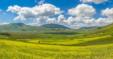 apennines: Beautiful summer landscape at Piano Grande Great Plain mountain plateau in the Apennine Mountains, Castelluccio di Norcia, Umbria, Italy