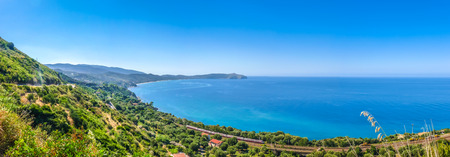 palinuro: Panoramic view of beautiful coastal landscape at the Cilentan Coast on Capo Palinuro, province of Salerno, Campania, southern Italy