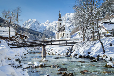 cottage: Panoramic view of scenic winter landscape in the Bavarian Alps with famous Parish Church of St. Sebastian in the village of Ramsau, Nationalpark Berchtesgadener Land, Upper Bavaria, Germany