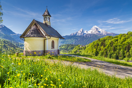 Beautiful view of famous Chapel at Lockstein with mount Watzmann in the background, Berchtesgaden, Nationalpark Berchtesgadener Land, Bavaria, Germany