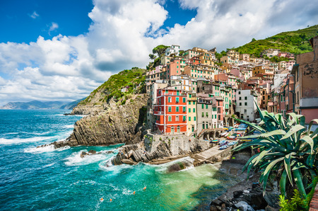 europe: Panoramic view of Riomaggiore, one of the five famous fisherman villages of Cinque Terre in Liguria, Italy