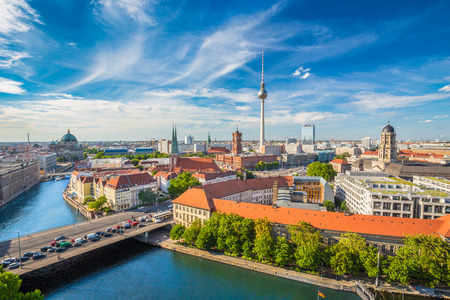 aerial: Aerial view of Berlin skyline
