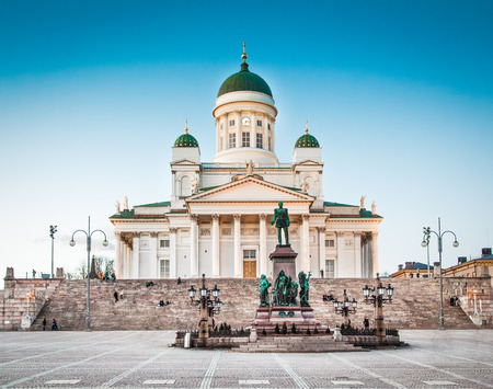 Beautiful view of famous Helsinki Cathedral in beautiful evening light, Helsinki, Finland Stock fotó