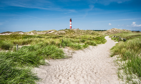 lighthouses: Beautiful dune landscape with traditional lighthouse on the island of Amrum at North Sea, Schleswig-Holstein, Germany