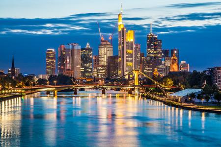 and germany: Beautiful view of Frankfurt am Main skyline at dusk, Germany