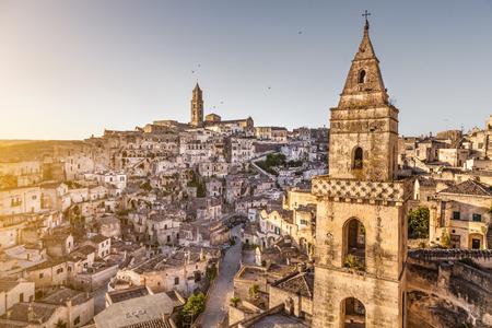 european culture: Ancient town of Matera Sassi di Matera, European Capital of Culture 2019 in beautiful golden morning light, Basilicata, Southern Italy