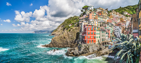panoramic view: Panoramic view of Riomaggiore, one of the five famous fisherman villages of Cinque Terre in Liguria, Italy