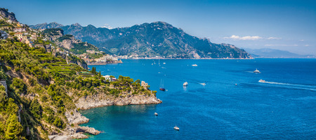 naples: Panoramic view of famous Amalfi Coast with beautiful Gulf of Salerno, Campania, Italy