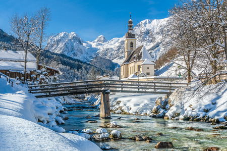 and germany: Panoramic view of scenic winter landscape in the Bavarian Alps with famous Parish Church of St. Sebastian in the village of Ramsau, Nationalpark Berchtesgadener Land, Upper Bavaria, Germany