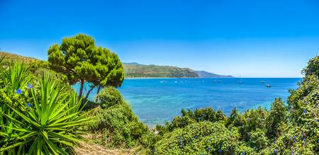 palinuro: Panoramic view of beautiful coastal landscape at the Cilentan Coast in Ogliastro Marina, province of Salerno, Campania, southern Italy