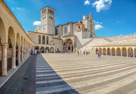 francesco: Famous Basilica of St. Francis of Assisi Basilica Papale di San Francesco with Lower Plaza in Assisi, Umbria, Italy
