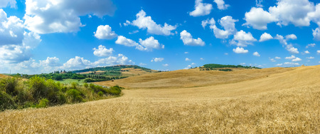 val dorcia: Beautiful Tuscany landscape with the old town of Pienza on a hill in summertime, Val dOrcia, Italy