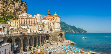 positano: Scenic picture-postcard view of the beautiful town of Atrani at famous Amalfi Coast with Gulf of Salerno, Campania, Italy Stock Photo