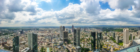 hessen: Frankfurt am Main skyline panorama with dramatic cloudscape, Hessen, Germany