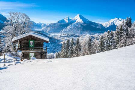 lodges: Beautiful mountain landscape in the Bavarian Alps with village of Berchtesgaden and Watzmann massif in the background at sunrise, Nationalpark Berchtesgadener Land, Bavaria, Germany