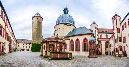 bayern old town: Panoramic view of the historic courtyard of famous fortress Marienberg in Wurzburg, region of Franconia, Northern Bavaria, Germany
