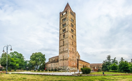 benedictine: Panoramic view of historic Abbey of Pomposa, the world famous Benedictine monastery, Codigoro, Emilia-Romagna, Italy