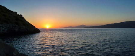 palinuro: Scenic panoramic view of beautiful idyllic sunset above the sea at the Cilentan Coast on Capo Palinuro, province of Salerno, Campania, southern Italy Stock Photo