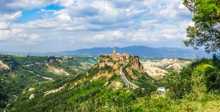 lazio: Beautiful panoramic view of famous Civita di Bagnoregio with Tiber river valley, Lazio, Italy