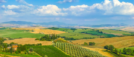 val d'orcia: Scenic Tuscany landscape with rolling hills and valleys in golden evening light, Val dOrcia, Italy
