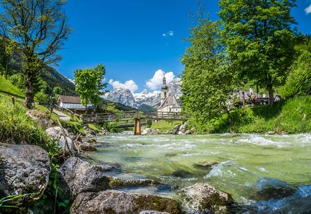 nationalpark: Scenic mountain landscape in the Bavarian Alps with famous Parish Church of St. Sebastian in the village of Ramsau, Nationalpark Berchtesgadener Land, Upper Bavaria, Germany Stock Photo