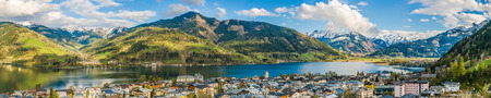 panoramic view: Panoramic view of beautiful mountain landscape in the Alps with Zeller Lake in Zell am See, Salzburger Land, Austria Stock Photo