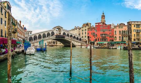 rialto bridge: Panoramic view of famous Canal Grande with famous Rialto Bridge in Venice, Italy