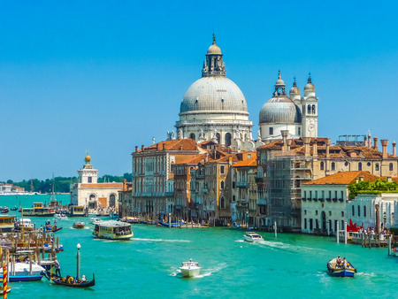 venice: Canal Grande with Basilica di Santa Maria della Salute in Venice, Italy Stock Photo