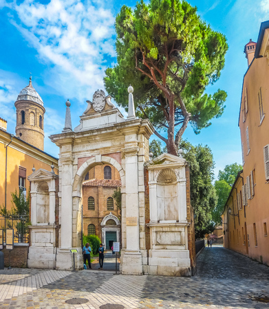 ravenna: Entrance gate to famous Basilica di San Vitale, one of the most important examples of early Christian Byzantine art in western Europe, in Ravenna, region of Emilia-Romagna, Italy