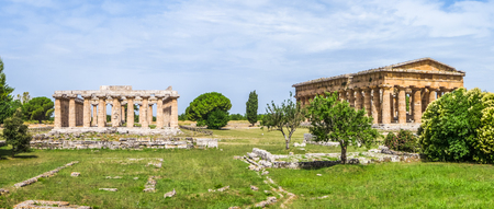 heritage site: Ancient temple at famous Paestum Archaeological UNESCO World Heritage Site, which contains some of the most well-preserved ancient Greek temples in the world, Province of Salerno, Campania, Italy