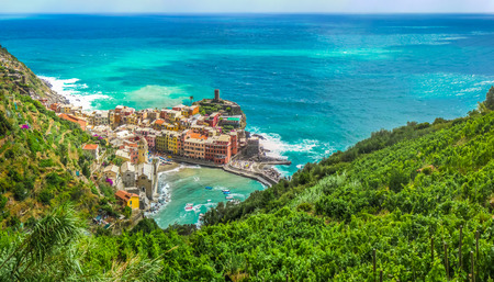 italy landscape: Beautiful view of Vernazza, one of the five famous fisherman villages of Cinque Terre, Liguria, Italy