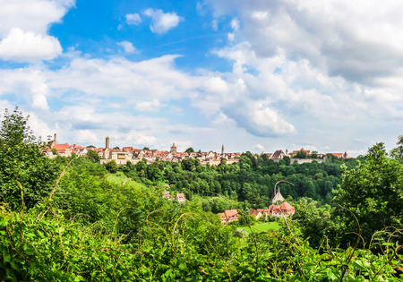 der: Beautiful view of the historic town of Rothenburg ob der Tauber skyline, Franconia, Bavaria, Germany