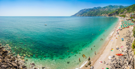 southern: Scenic picture-postcard view of famous Amalfi Coast with beautiful Gulf of Salerno, Campania, Italy