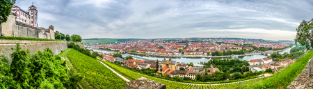 bayern old town: Aerial view of the historic city of Wurzburg, region of Franconia, Northern Bavaria, Germany