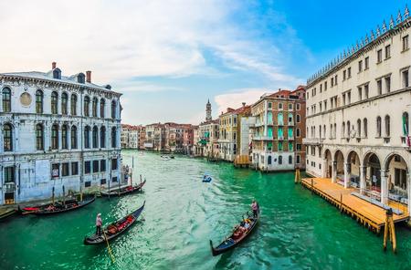 rialto bridge: Panoramic view of famous Canal Grande from famous Rialto Bridge in Venice, Italy
