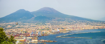 napoli: Scenic picture-postcard view of the city of Naples Napoli with famous Amalfi Coast in the background from Certosa di San Martino monastery, Campania, Italy