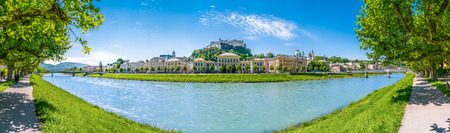 amadeus: Beautiful panoramic view of Salzburg skyline with Festung Hohensalzburg and Salzach river in summer, Salzburg, Salzburger Land, Austria Stock Photo