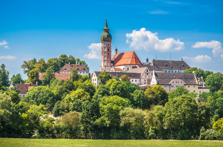 monastery nature: Beautiful view of historic Andechs Abbey in summer on a sunny day, district of Starnberg, Upper Bavaria, Germany