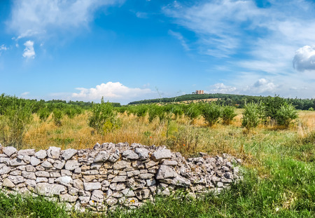 italy background: Beautiful view of typical landscape in Apulia with historic stonewall and famous Castel del Monte in the background, southeast Italy Stock Photo