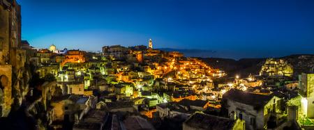 sassi: Ancient town of Matera Sassi di Matera at dusk, Basilicata, southern Italy