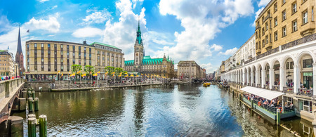 water town: Beautiful view of Hamburg city center with town hall and Alster river, Germany Stock Photo