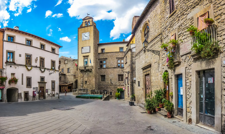 vitorchiano: Beautiful townsquare in the medieval town of Vitorchiano, province of Viterbo, Lazio, Italy