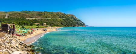 palinuro: Panoramic view of beautiful coastal landscape at the Cilentan Coast in Ogliastro Marina, province of Salerno, Campania, southern Italy