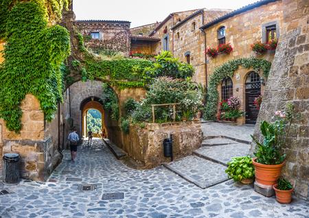 테 베레 강 계곡 근처의 유명한 시비 타 디 반뇨 레쪼에서 목가적 인 골목 방식의 아름 다운보기, 라치오, 이탈리아