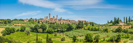 Panoramic view of the medieval town of San Gimignano on a hill, Tuscany, Italy