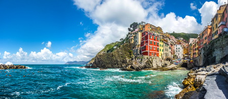 panoramic: Panoramic view of Riomaggiore, one of the five famous fisherman villages of Cinque Terre in Liguria, Italy
