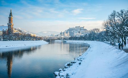 europe travel: Beautiful panoramic view of Salzburg skyline with Festung Hohensalzburg and river Salzach in winter, Salzburger Land, Austria Stock Photo