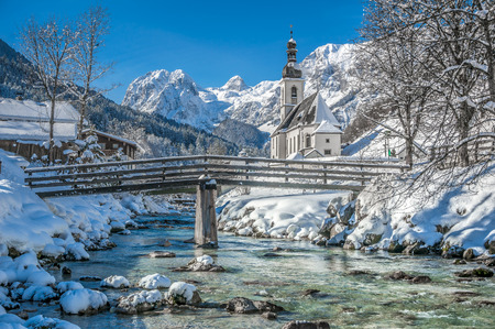 snow tree: Panoramic view of scenic winter landscape in the Bavarian Alps with famous Parish Church of St. Sebastian in the village of Ramsau, Nationalpark Berchtesgadener Land, Upper Bavaria, Germany